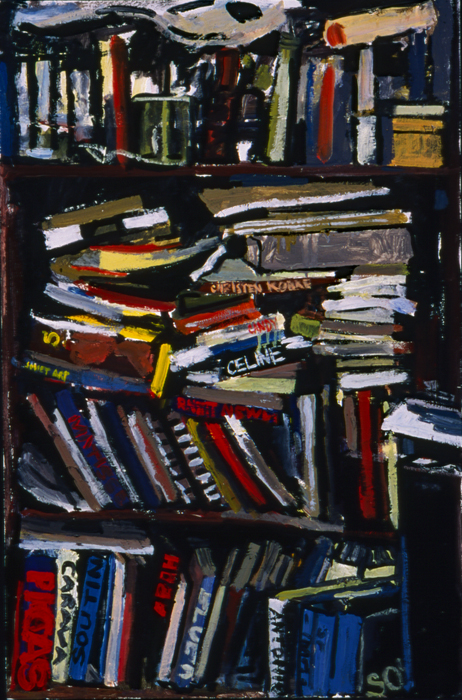 A painting of a bookshelf