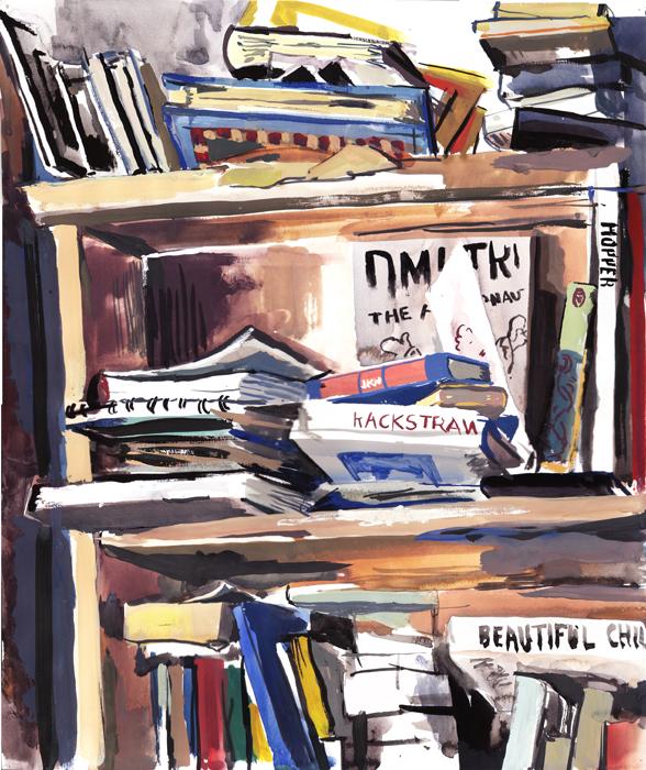 A gouache of a bookshelf