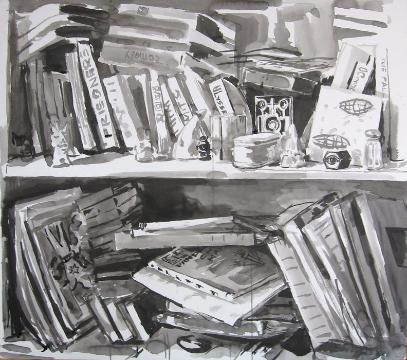 A sumi ink painting of a bookshelf