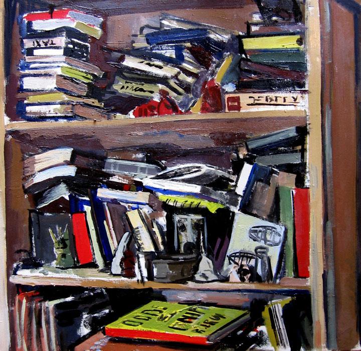 An oil painting of a bookshelf