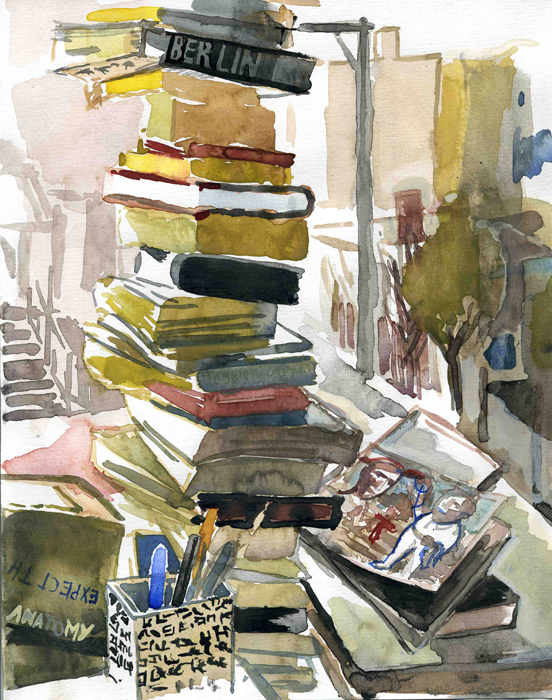 A watercolor of a stack of books